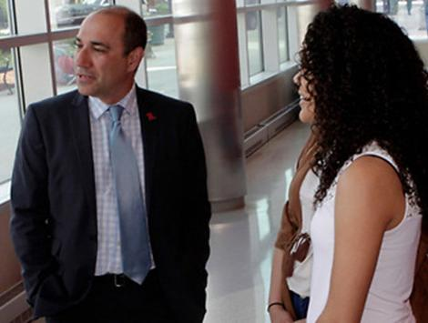 Rutgers Business School Undergraduate Dean speaking with students
