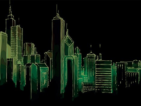 Sketch of a skyline on a dark background
