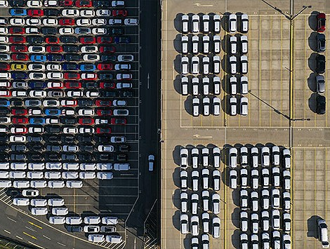 Cars parked at a dock