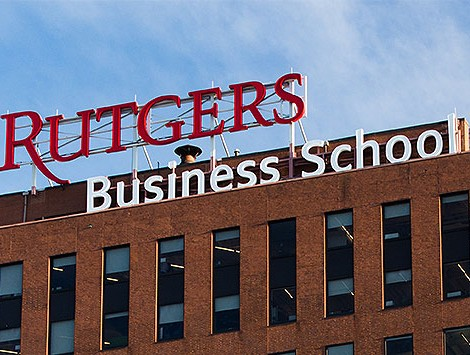 The sign for Rutgers Business School