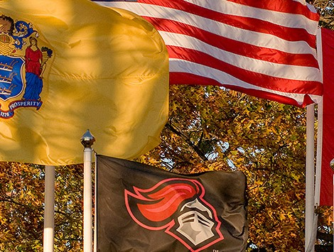 Flags on campus at Rutgers University