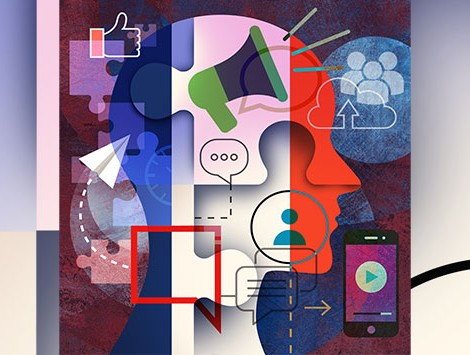 Illustration of a head filled with different social media distractions
