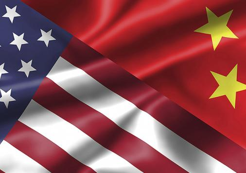 The flags of the US and China